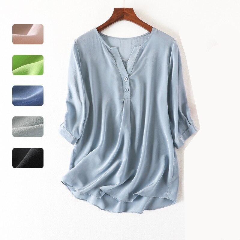 Femmes été 100% Blouse en soie naturelle vraie soie demi manches chemise de base OL solide multicolore t-shirts Blouses en soie pour les femmes