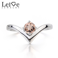 Leige Jewelry Natural Pink Morganite Ring Engagement Ring Round Cut Pink Gems 925 Sterling Silver Ring Solitaire Ring for Her