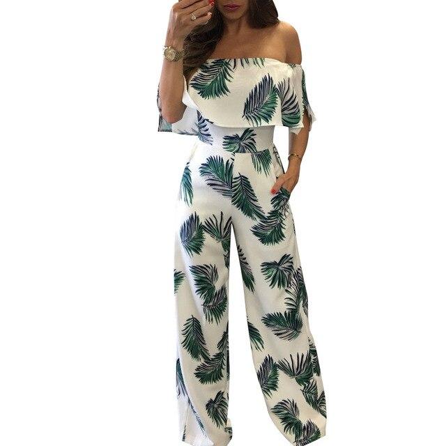 4cb2b0e59a61 Jumpsuit Overal Women flounce jumpsuits Long Pants Body Suit Floral Romper  Bodies Mujer Kombinezon Damski Tute Eleganti Donna