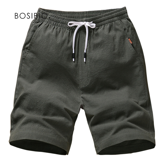 Mens Summer Cotton Solid Casual Shorts Elastic Waist Top Quality