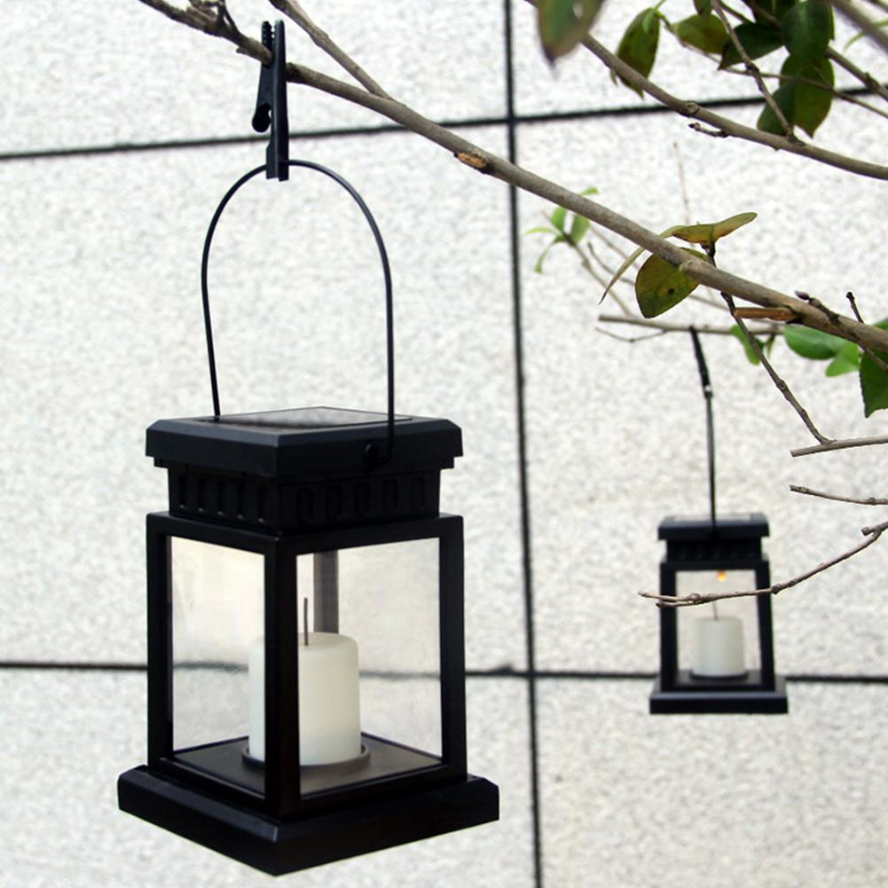 HiMISS LED Solar Flameless Candle Lantern With Hanging Clip For Outdoor Lighting