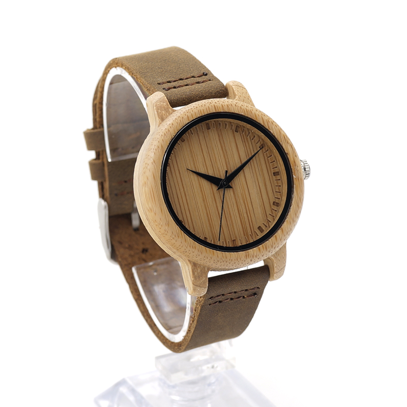 BOBO BIRD WA10 Women Watches Bamboo Wooden Watch Real Leather Band Quartz Watch As Gift For Ladies Accept OEM Relogio