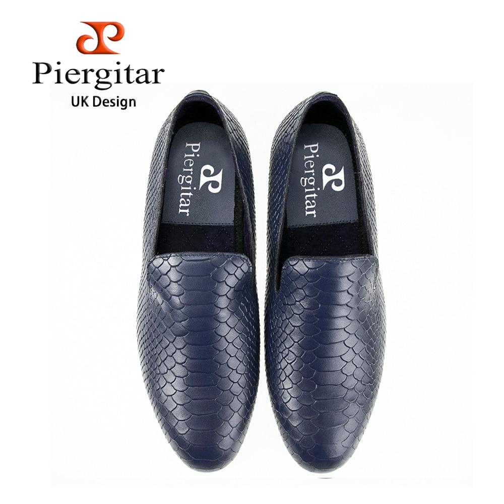 Piergitar fashion shoes using crocodile  grain leather, black or navy blue color, handmade Prom and Banquet loafers men  flats new handmade 22mm black crocodile grain