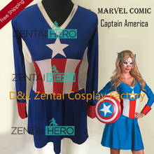 Free Shipping DHL Halloween Costumes For Women Captain America Fancy Dress American Dream Adult Womens Zentai Costume SHS802