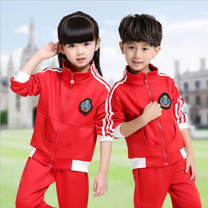 Red Adults Primary School Uniforms Tops+Pants Teenage Kids clothing sports suit boys girls baseball tracksuit outfits