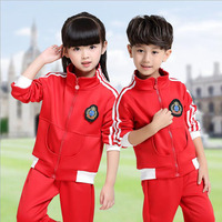 Red Adults Primary School Uniforms Tops Pants Teenage Kids Clothing Sports Suit Boys Girls Baseball Tracksuit