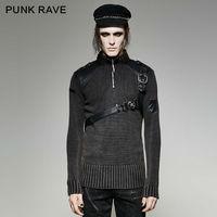 Панк рейв мужской свитер Панк Винтаж тяжелый металл хип хоп Уличная Личность зимний свитер для мужчин