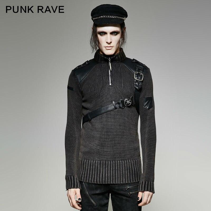 Punk Rave Mens Sweater Punk Vintage Heavy Metal Hip Hop Streetwear Personality Winter Sweater For Men