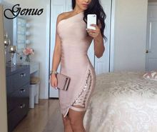 2019 New Summer Bandage Dress Women Celebrity Sleeveless One-Shoulder Sequined Sexy Night Out Party Dress Women Bodycon Vestidos 2017 summer bandage bodycon dress for women sleeveless one shoulder ruffles vintage sheath sexy club dress party night vestidos