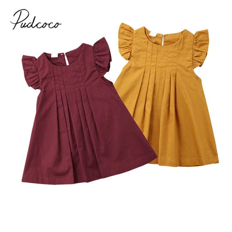 2018 Brand New Newborn Toddler Infant Baby Girls Summer Dress Casual Princess Party Tutu Dresses Clothes Solid Sundress 0-3T Платье