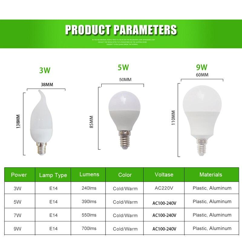 Купить с кэшбэком E14 LED Lamp 3W 5W 9W 220V 110V Warm/Cold White LED Bulb Light/Lamp Ball Bulb Lampada Ampoule Bombilla LED table lamp room lamp