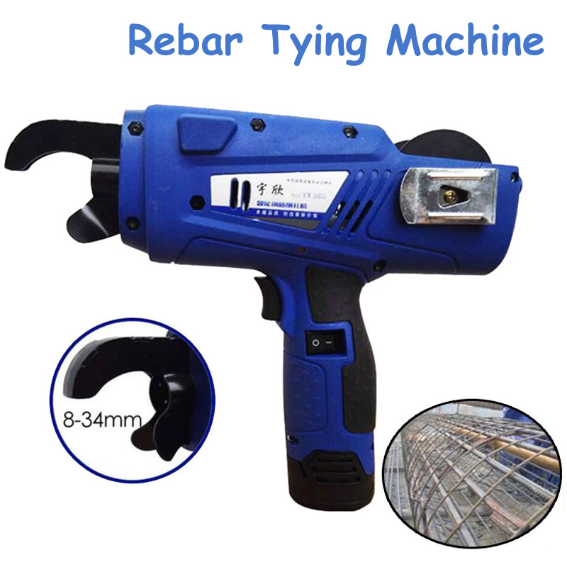 Automatic Rebar Tying Machine 8-34mm Electric Charging Strapping Machine Reinforcing Steel Packing Tool