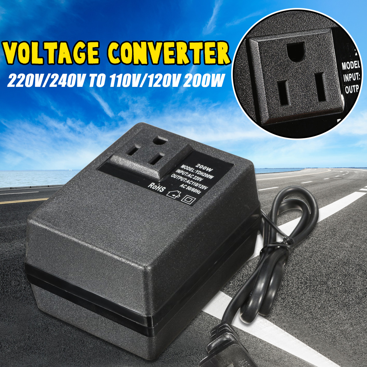 <font><b>220V</b></font> 240V <font><b>to</b></font> <font><b>110V</b></font> 120V <font><b>200W</b></font> Electronic International Travel Power Converter Voltage Converter Power Adapter image
