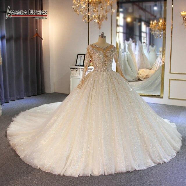 Gelinlik vestido de noche volledige kralen luxe sparkling bling bling trouwjurk amanda novias echte werk