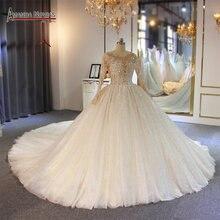 Gelinlik vestido de noche completo rebordear lujo brillante bling vestido de novia Amanda novias trabajo real