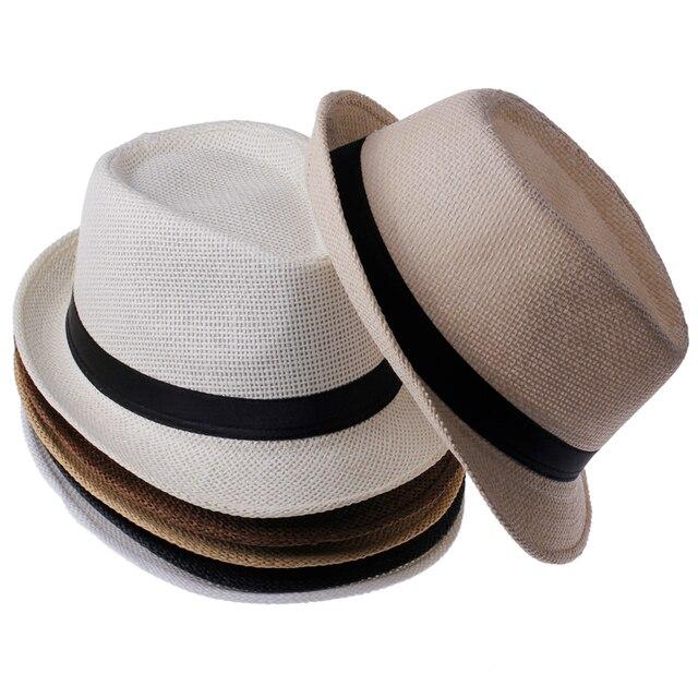 Las mujeres de la paja del verano de la manera Sombreros Fedora Beach  Trilby gángster Cap ae2c4c25e80