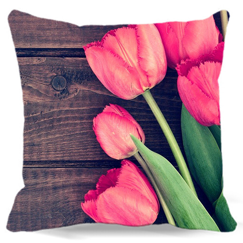 Fashion Cushions 2015 For Home Decorative Cushion Cove Throw Pillows Tulips Flowers Pillow Case 5 size 9 style