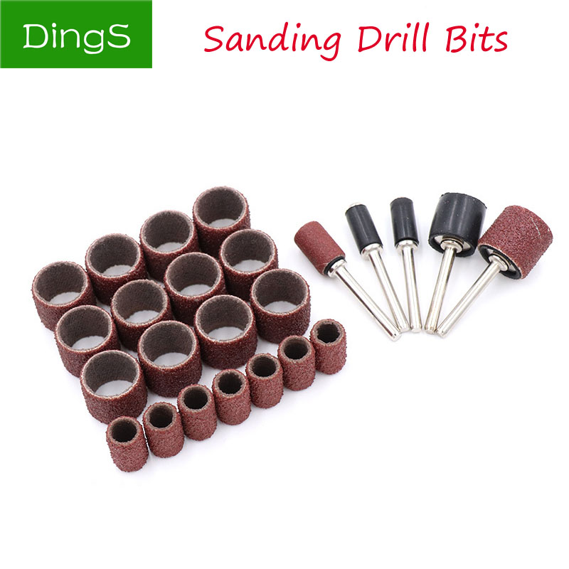 50pcs Rotary Power Tool Fits Dremel 80-600 Grit Sanding Polish Accessory Bit Set Drum Sanding Kit Abrasive Tools