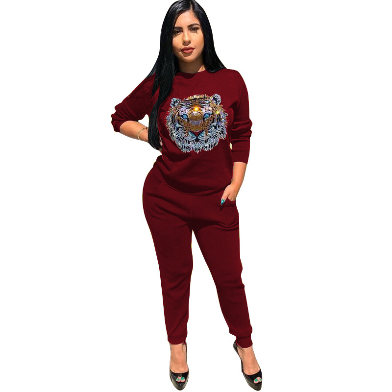 2019 sports casual monochrome suit for women, round neck, long sleeve, printed shirt on the front, casual slim pants personality