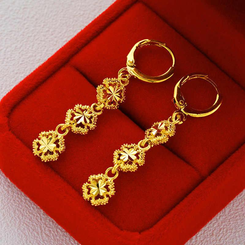 OMHXFC gros mode européenne femme fille fête mariage cadeau fleur coeur pomme étoile 18KT or boucles d'oreilles goutte ER151