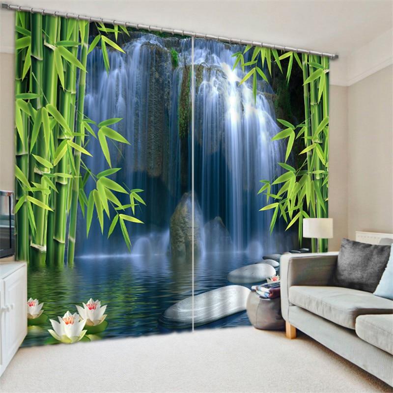 Luxus Blackout 3D Fenster Vorhänge Für Wohnzimmer büro Schlafzimmer Vorhänge cortinas Rideaux Angepasst größe Bambus blatt Wasserfall-in Vorhänge aus Heim und Garten bei  Gruppe 1