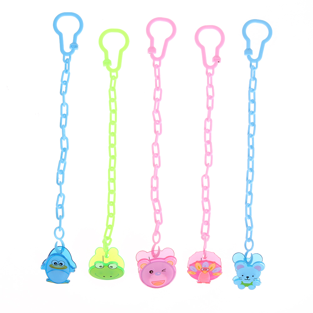 1pcs Cartoon Animal Pattern Baby Feeding Pacifier For Baby Kids Chain Clip Nipple Holder Pacifier