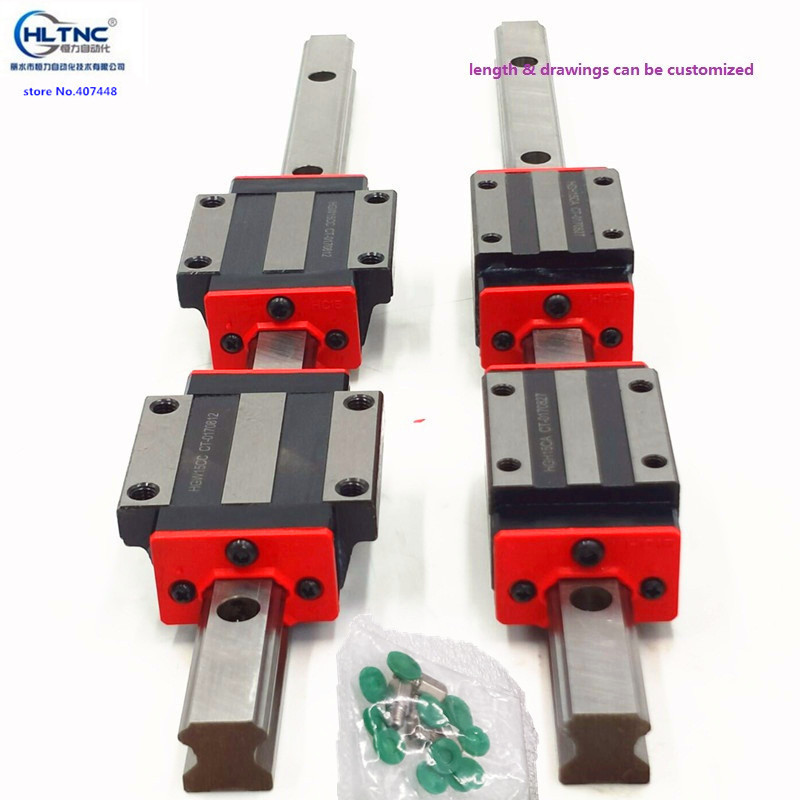 free shipping 2pc HGR15 linear guide rail any length 4pc linear block carriage HGH15CA flang HGW15CC