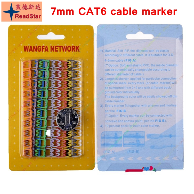 [ReadStar]1000PCS/LOT 7mm CAT6 Network Cable Number Marker Clip 0-9 Numbers Cable Markers 100pcs Each Retail Packing