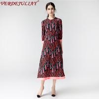 Vintage Dresses Early Spring Fashion 3/4 Sleeve 2018 Women Lipstick Print Patchwork European Runway Mid-Calf Wine Red Dress