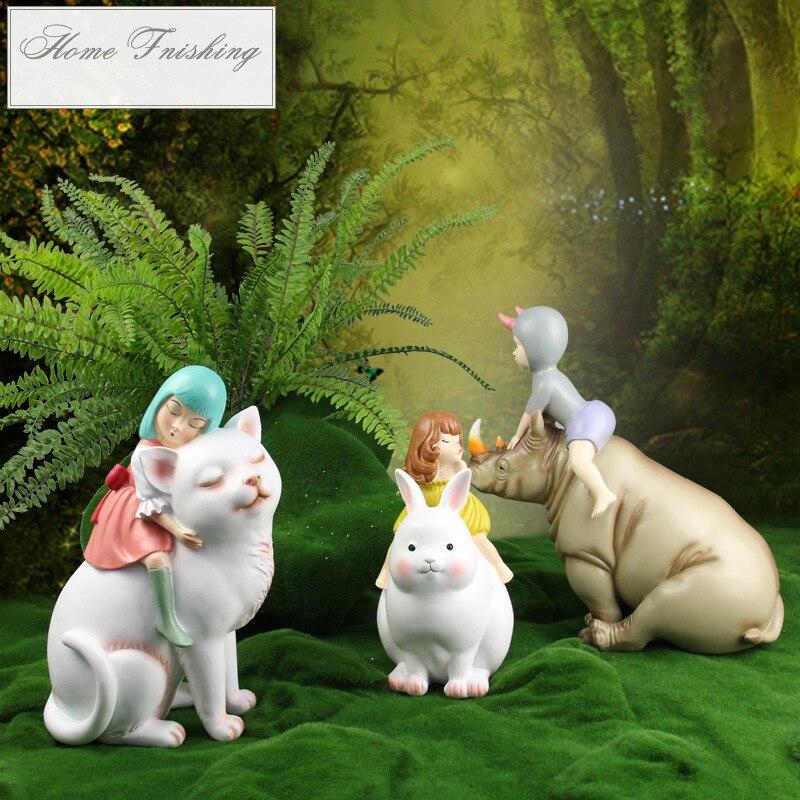 Nordic Fairy Tale Elf Decoration Ornament Cat Girl Figure Statue Home Decor Furnishings Resin Art Crafts