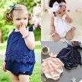 Infantil bonito Do Bebê Da Menina Flor Do Laço Bodysuit Bonito Sunsuit Macacão Roupas Outfit