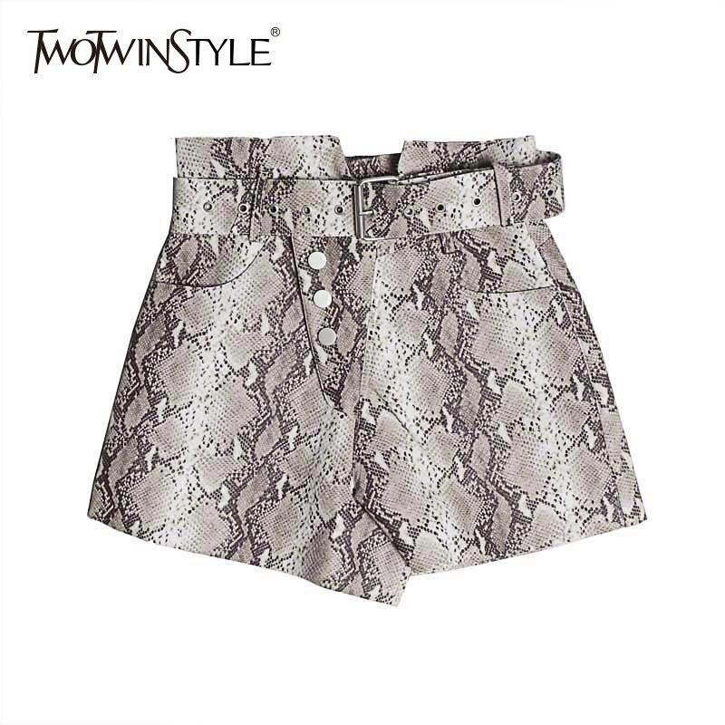 TWOTWINSTYLE Print Snake PU Leather Women's Shorts High Waist With Sashes Shorts Female Fashion Vintage Summer 2020 Large Sizes