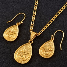 Anniyo Small PNG Water Drop With Bird Pendant Chains Earrings for Women Girls Papua New Guinea Ethnic Bird Jewelry Sets #139606