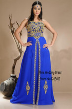 Gold Beaded Sweetheart Islamic Blue Chiffon Prom Dresses Arabic Clothes Muslim Kaftan Abaya In Dubai Formal Slit Evening Dress