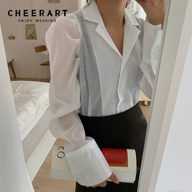 120c56781 Cheerart White Sheer Top Transparent Blouse Women Lapel Puff Sleeve Top  Button Shirt Korean Ladies Tops Clothing