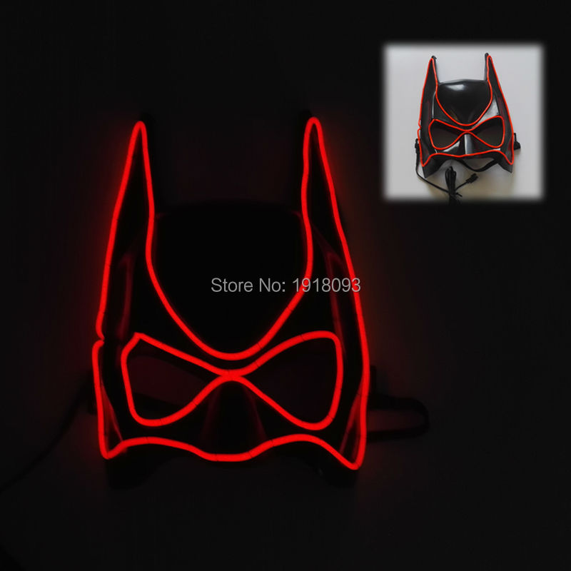 2017 New arrival Red Color Blinking V Style Batman Novelty Lighting EL Wire Mask LED mask Halloween Mask for Party decoration