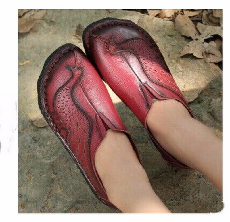 2018 Ethnic Style New Genuine leather spring flat heel women shoes handmade national flat shoes comfortable soft single shoes