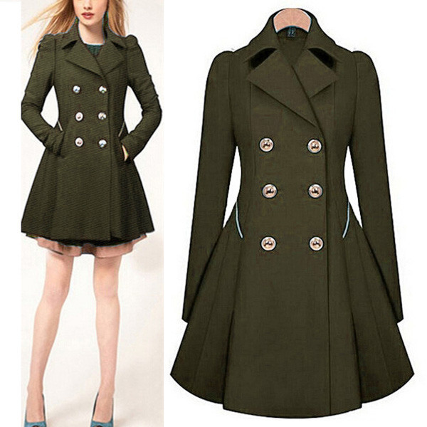 2018 Autumn New Plus Size Womens Coat Commuter Office Ol Slim Fashion Ruffles Windbreaker Double Breasted Trench