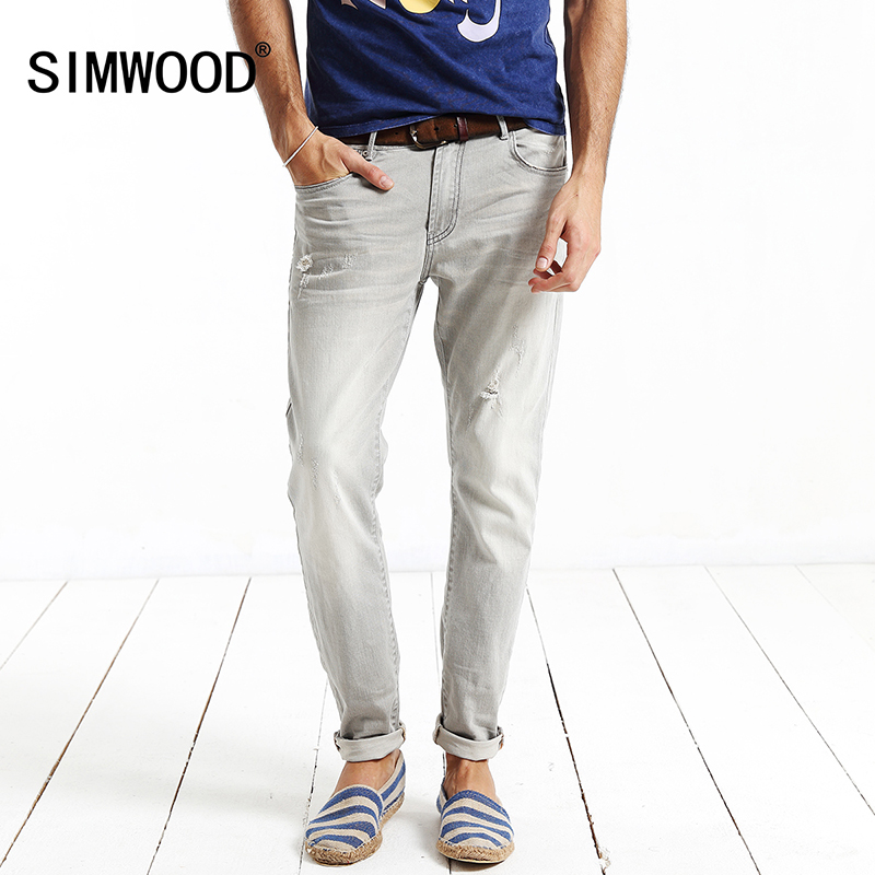 Simwood Jeans Men 2017 New Brand Clothing Fashion Solid Slim Fit  Plus Size Mid Straight Denim Pants Free Shipping SJ6016 2017jeans men new arrival brand clothing blue slim fit casual stretch denim pants high quality plus size free shipping