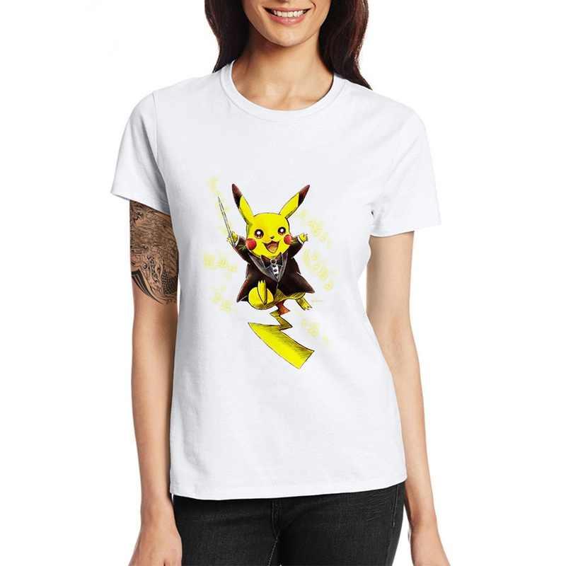 Pokemon Pikachu impreso Camiseta de cuello redondo Casual para hombres y mujeres adolescentes