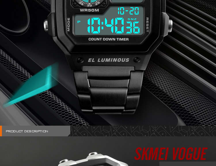 SKMEI Top Luxury Fashion Sport Watch Men 5Bar Waterproof Watches Stainless Steel Strap Digital Watch reloj hombre 1335 HTB1Fnlvi3LD8KJjSszeq6yGRpXad