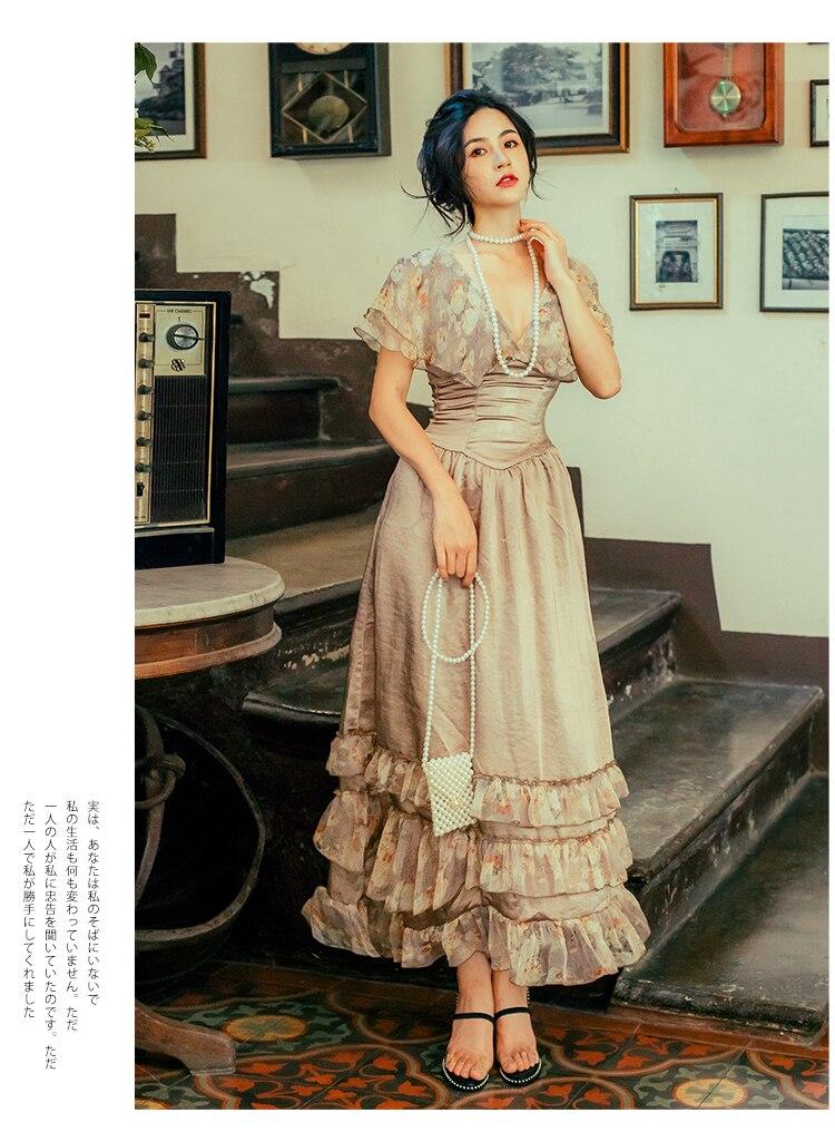 Новинка, модные женские платья, Ретро стиль, Дворцовый ветер, Франция, тонкое большое длинное платье, женское летнее