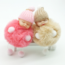 ZOEBER Sleeping Baby Doll Keychain foot doll Pompom fake Rabbit Fur Ball Key Chain Car Keyring Women Key Holder BagCharm jewelry