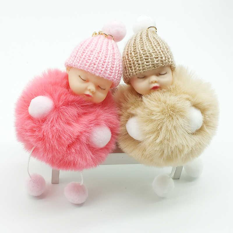 ZOEBER Спящая Детская кукла брелок для ног кукла помпон искусственный кроличий мех шаровая цепочка для ключей Автомобильный брелок женский брелок держатель для ключей ювелирные изделия