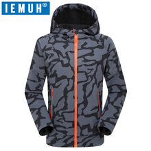 IEMUH Brand New Men Winter Fleece Softshell Jacket Outdoor Waterproof Camouflage Thermal Camping Trekking Hoodies Hiking Jackets rax winter outdoor waterproof hiking jacket for men fleece windbreaker windproof softshell jacket men s thermal rain jackets men