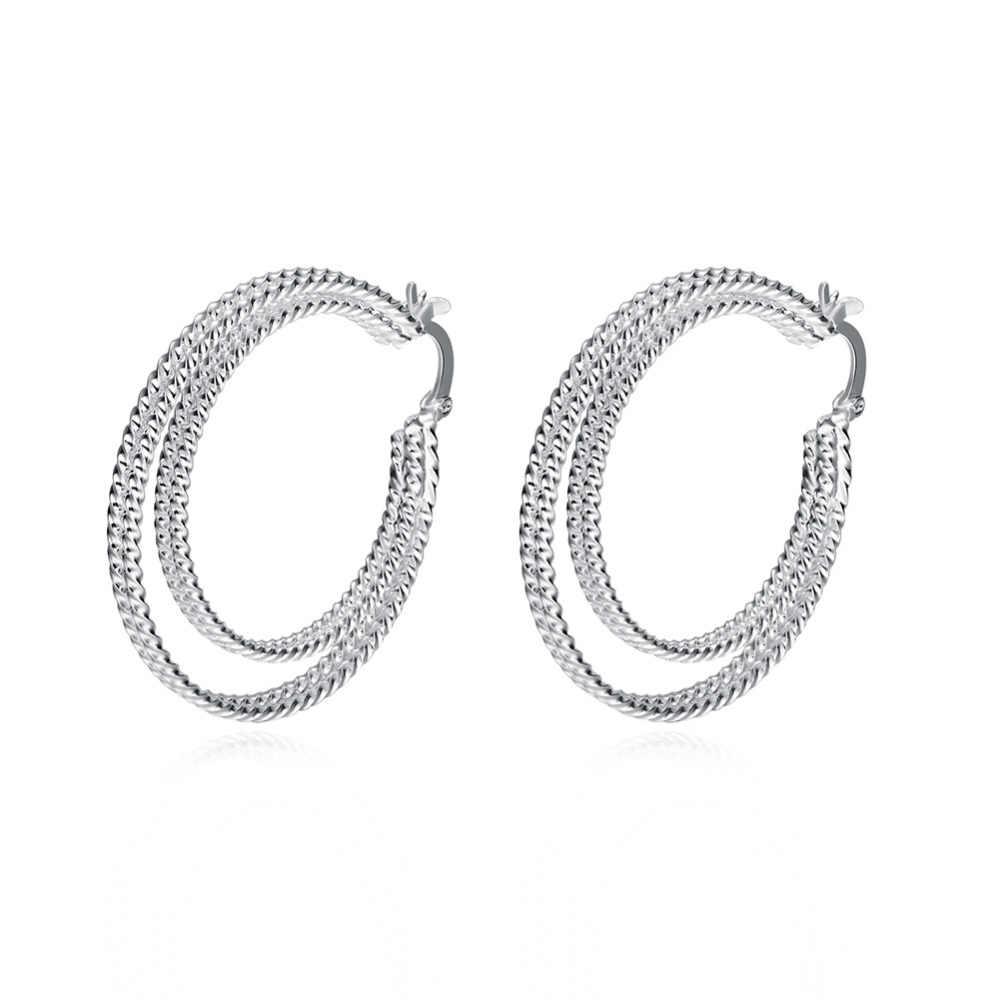 925 เงิน Fashoin hoop ต่างหูเครื่องประดับ Smooth double double วงกลมถัก hoop ต่างหูสำหรับ lady women อินเทรนด์ใหม่เครื่องประดับ