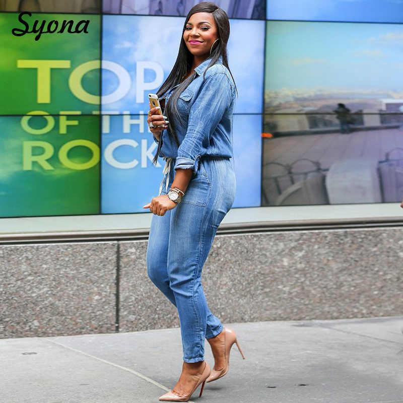 בציר חגורת סרבל ג 'ינס ROMPER ג' ינס נשי ארוך שרוול כפתור אחד חתיכה סרבל לנשים סתיו סינר בתוספת גודל XXXL