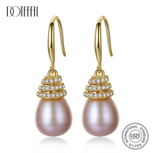 DOTEFFIL Drop Earrings Natural Freshwater Pearl 925 Sterling Silver Gold Inlay  Earrings Pearl Jewelry Women Wedding/Party Gift