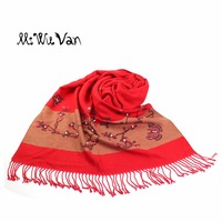 China Floral Pearl Scarf Winter Women New 2017 Cashmere Scarves Stoles Wool Blanket Warm Pashmina Chinese Shawl Butterfly Flying