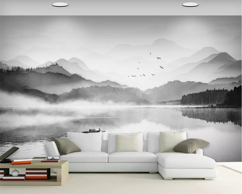 Beibehang Jane European Black And White Wallpaper Landscape Murals Home Decoration TV Background Wall Living Room Bedroom Murals